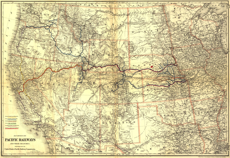 Historic Railroad Map of the Western United States - 1887