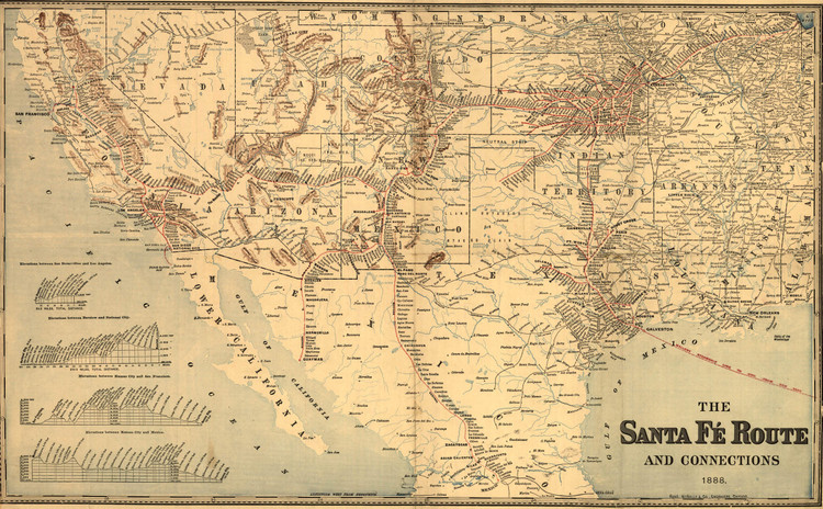 Historic Railroad Map of the Southwestern United States - 1888