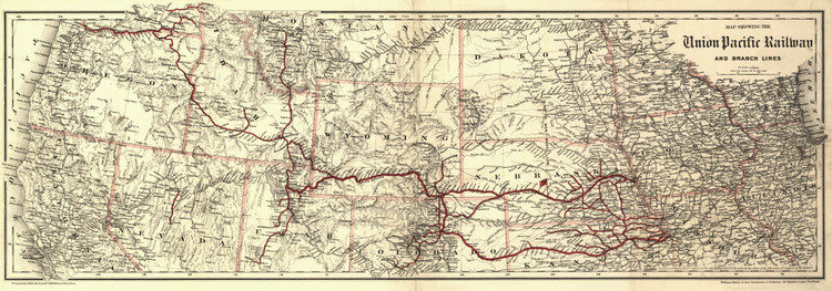Historic Railroad Map of the Western United States - 1888