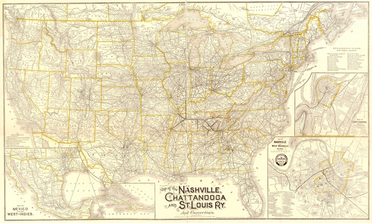 Historic Railroad Map of the United States - 1889
