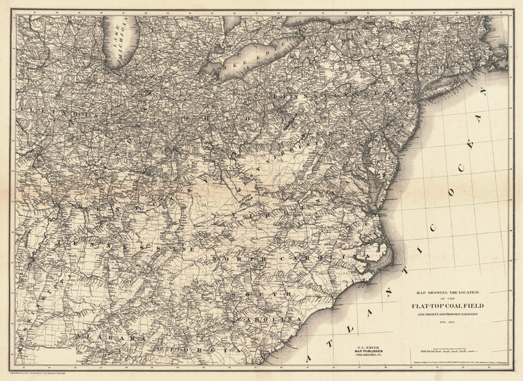 Historic Railroad Map of the Northeastern United States - 1889