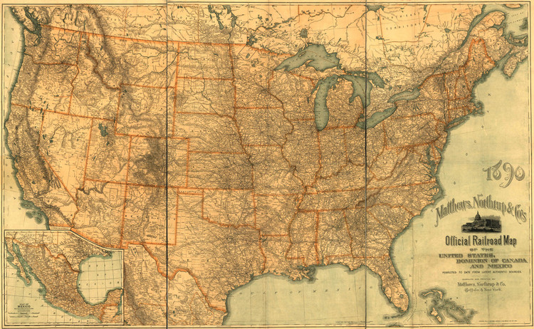 Historic Railroad Map of the United States - 1890