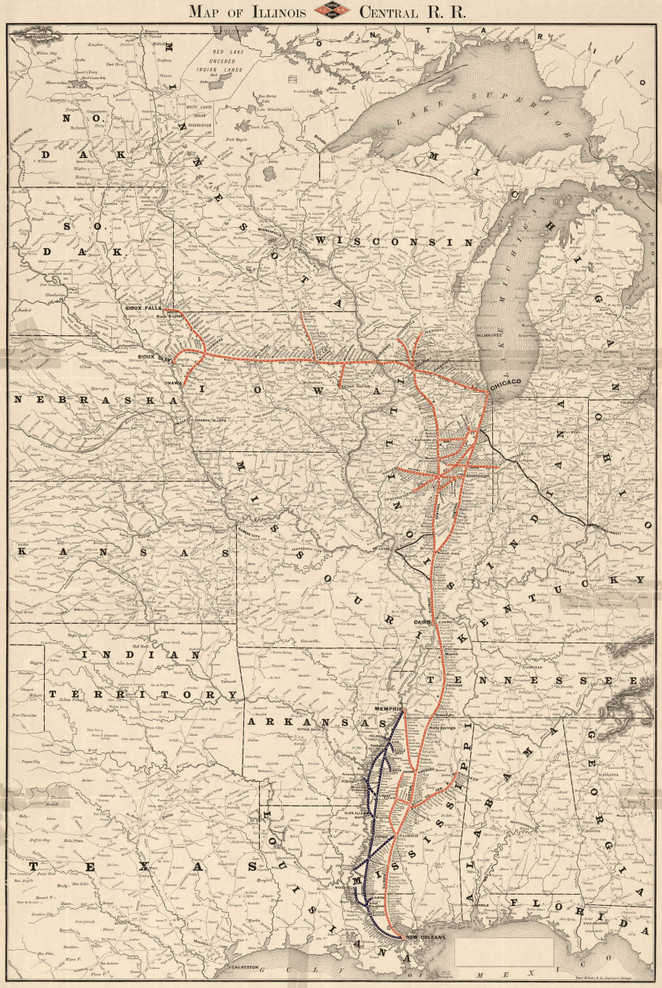 Historic Railroad Map of the Midwest - 1892