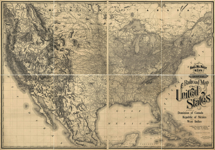 Historic Railroad Map of the United States - 1893