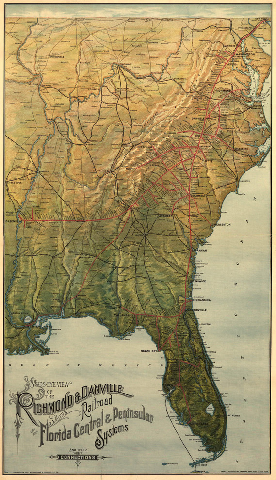 Historic Railroad Map of the Southeastern United States - 1893