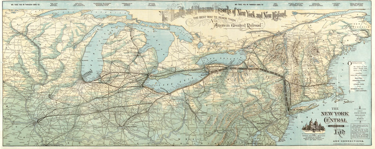 Historic Railroad Map of New England & New York - 1893