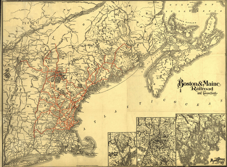 Historic Railroad Map of the Northeastern United States - 1898