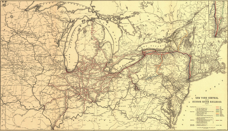Historic Railroad Map of the Northeastern United States - 1900