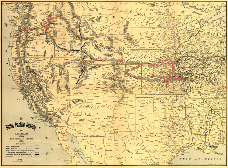 Historic Railroad Map of the Western United States - 1900