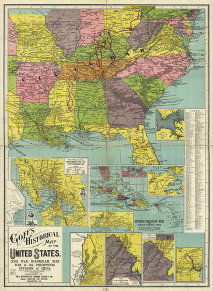 Historic Map - United States - Goff's Historical Map of the United States - 1907