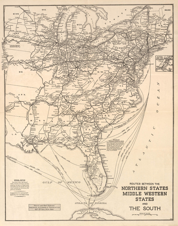 Historic Railroad Map of the Eastern United States - 1911