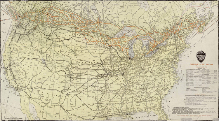 Historic Railroad Map of the United States & Canada - 1912
