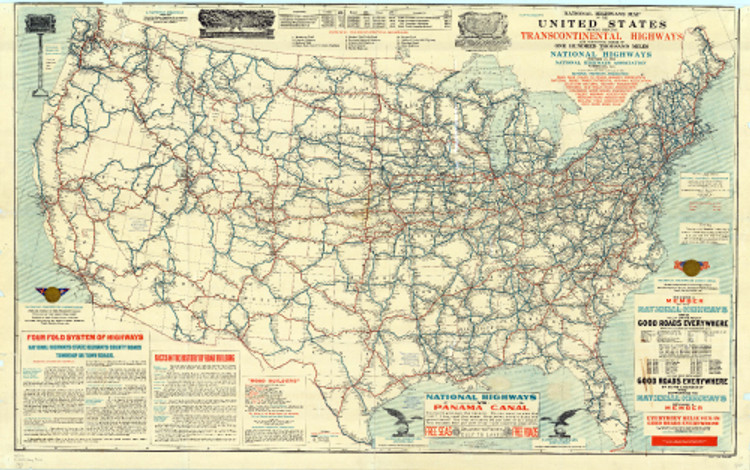 Historical Map of US Proposed Roads & Highways - 1915