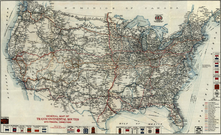 Historic Railroad Map of the United States - 1918