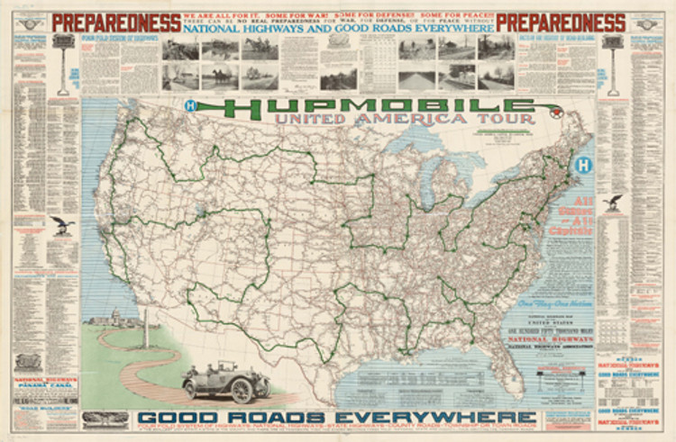 Historical Map of the United States - Hupmobile United America Tour - 1918