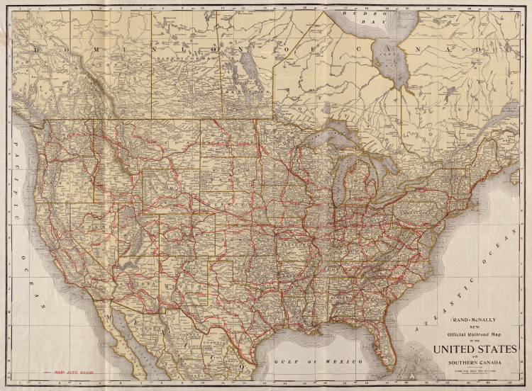 Historic Railroad Map of the United States - 1920