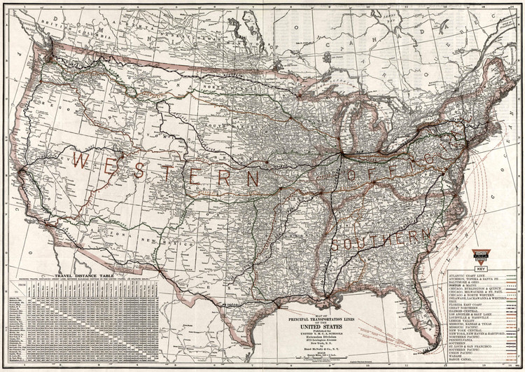 Historic Railroad Map of the United States - 1921