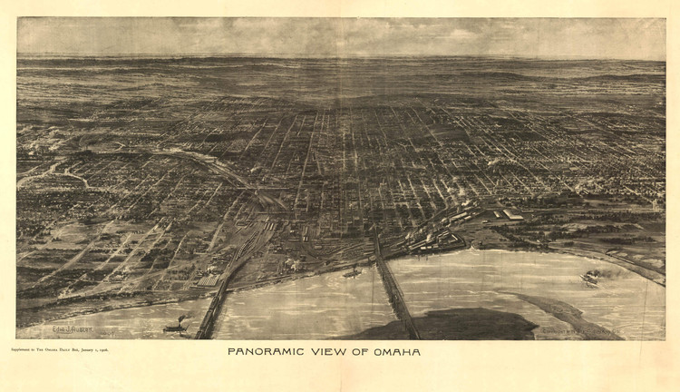 Omaha Nebraska 1868 Historic Panoramic Town Map 18x24
