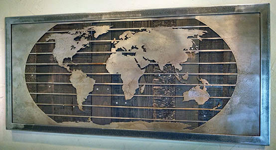 Metal Wall Map Mural Sculptures