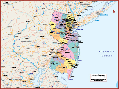 New Jersey Wall Maps