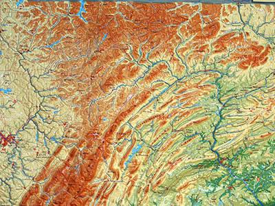 Raised Relief Maps of Pennsylvania