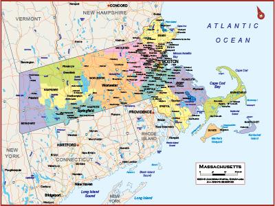 Massachusetts Wall Maps