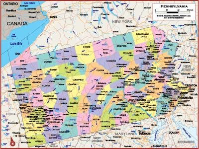 Pennsylvania Wall Maps