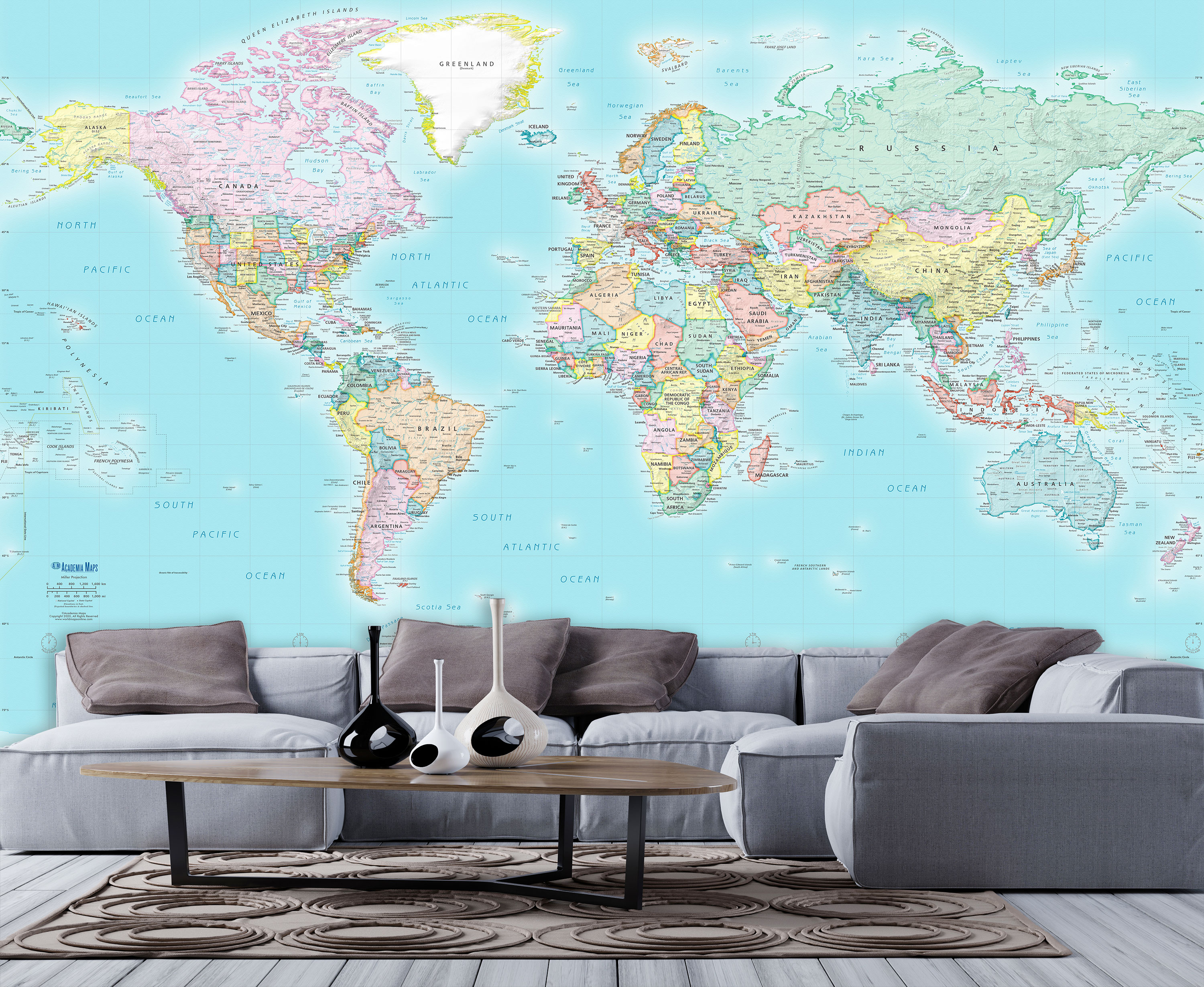 Political World Map Wall Sticker WS-51364