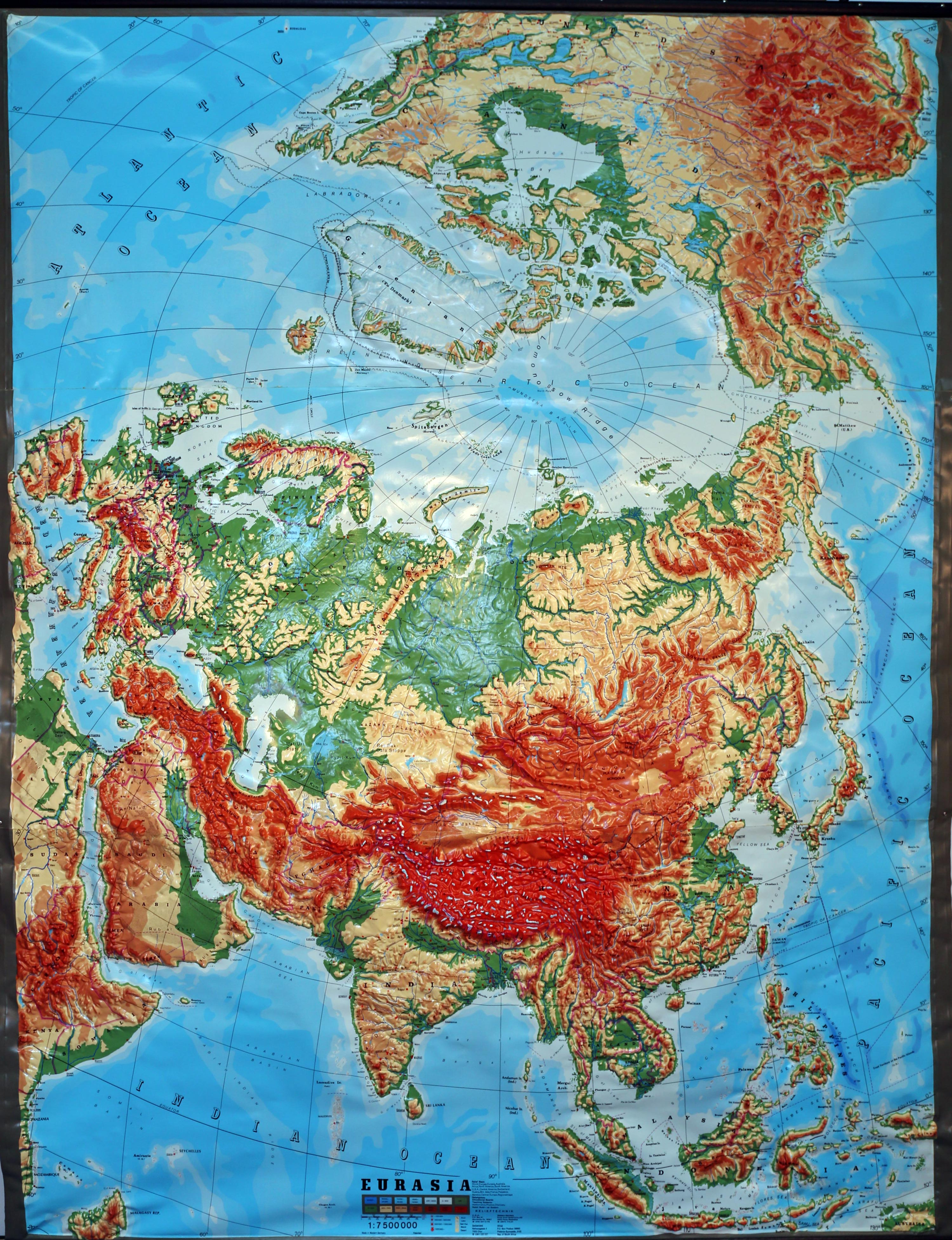 Picture of: Global Eurasia Large Extreme Relief Map Relief Technik Vintage New Old Stock