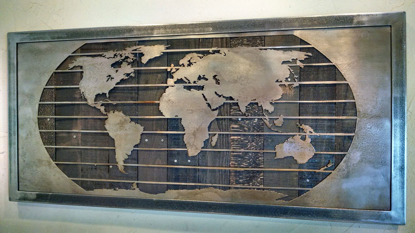 18 x 26 cm Black Metal Art Comes in Gift Wrap World Map Metal Sculpture Contemporary Home and Office Decoration - Modern and Elegant Design