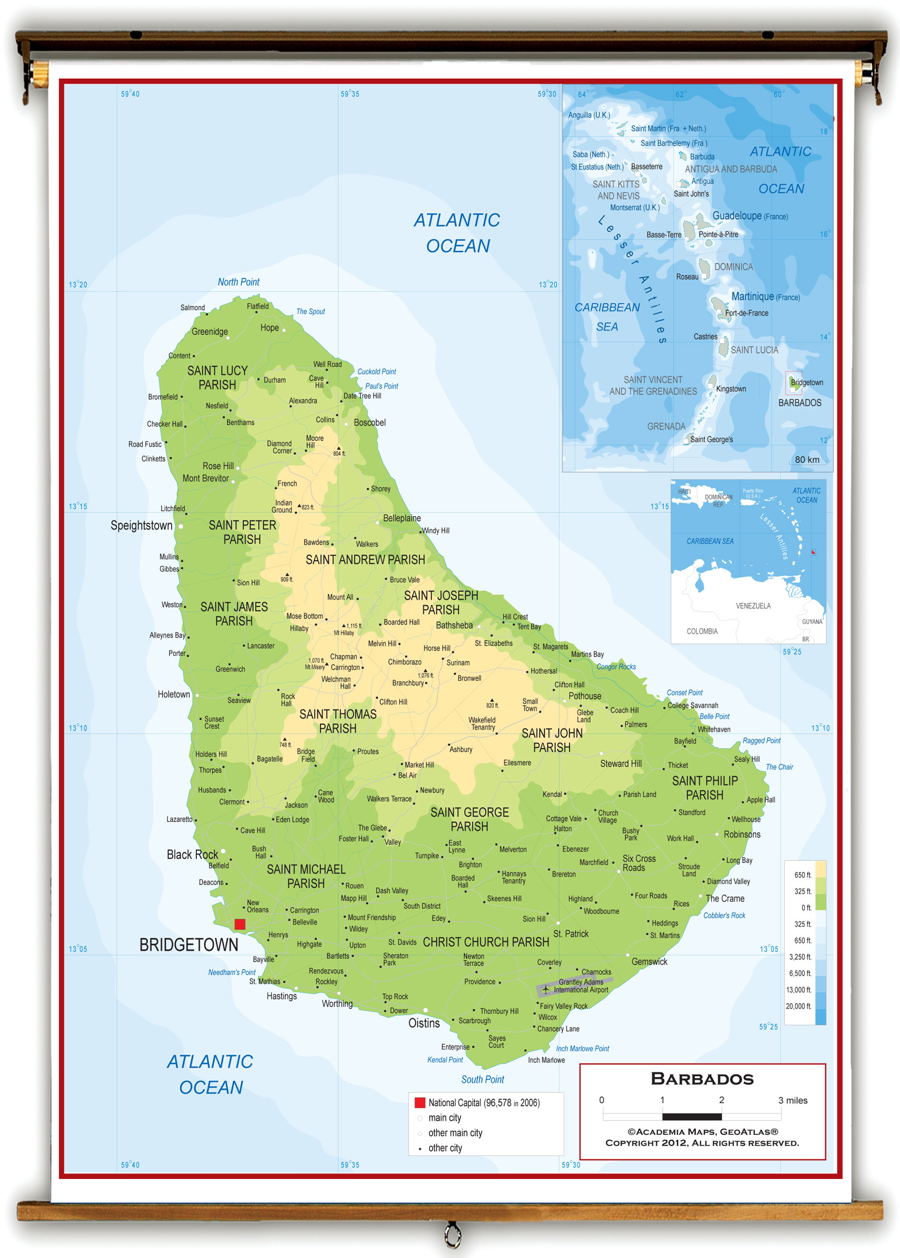 Image of: Barbados Physical Educational Wall Map From Academia Maps