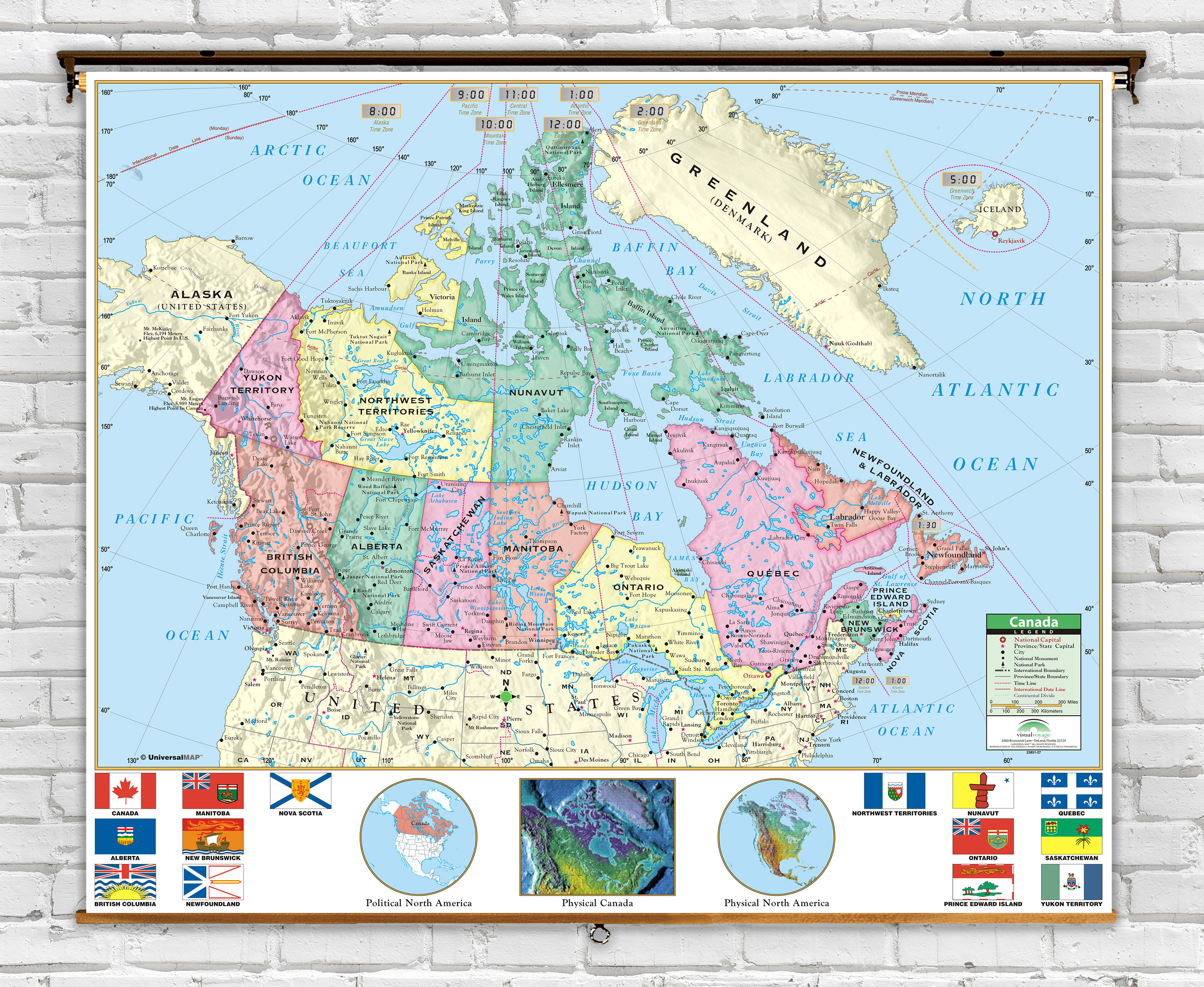 Picture of: Primary Canada Political Classroom Map On Spring Roller