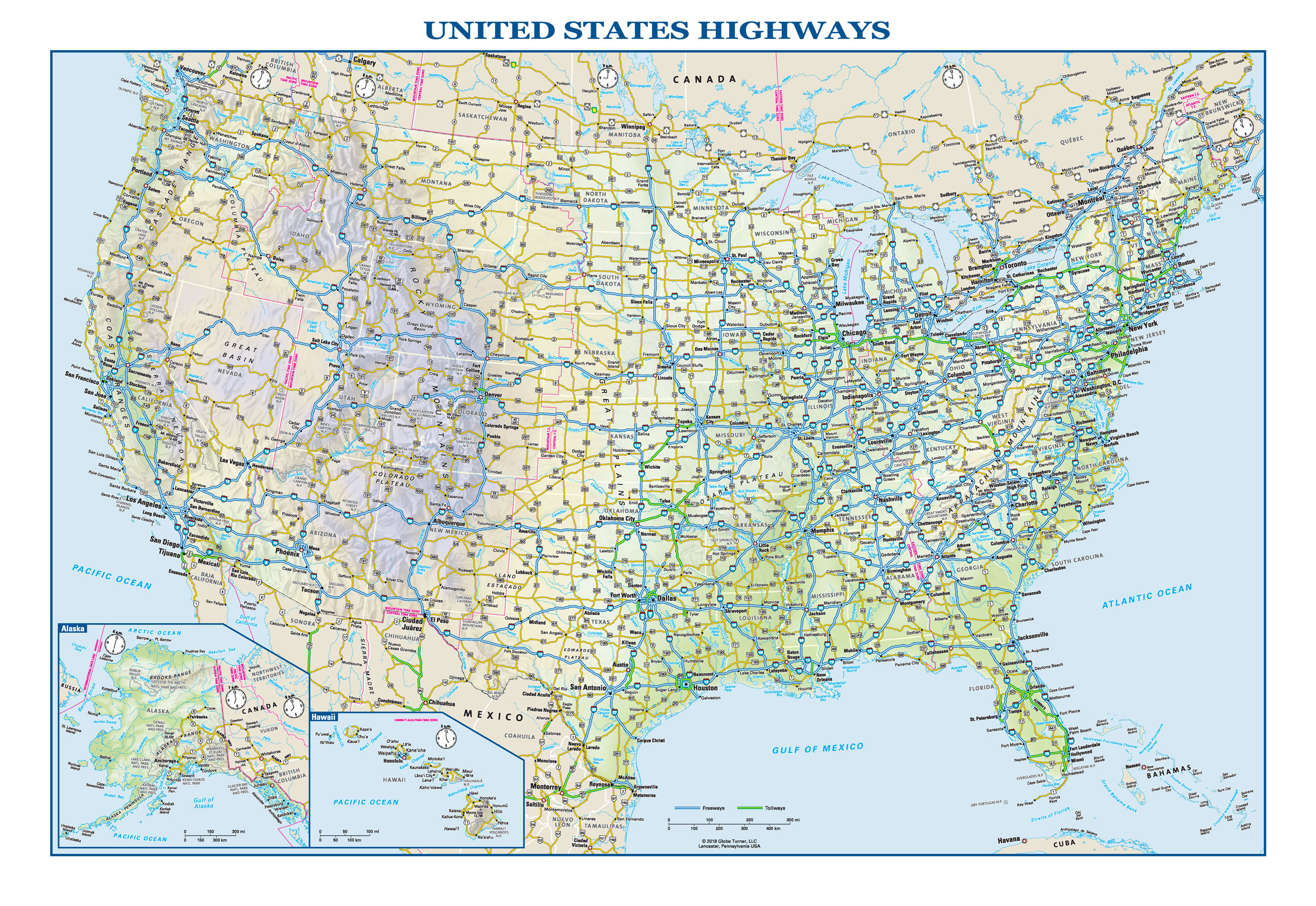 Map Of Us With Highways US Interstate Wall Map