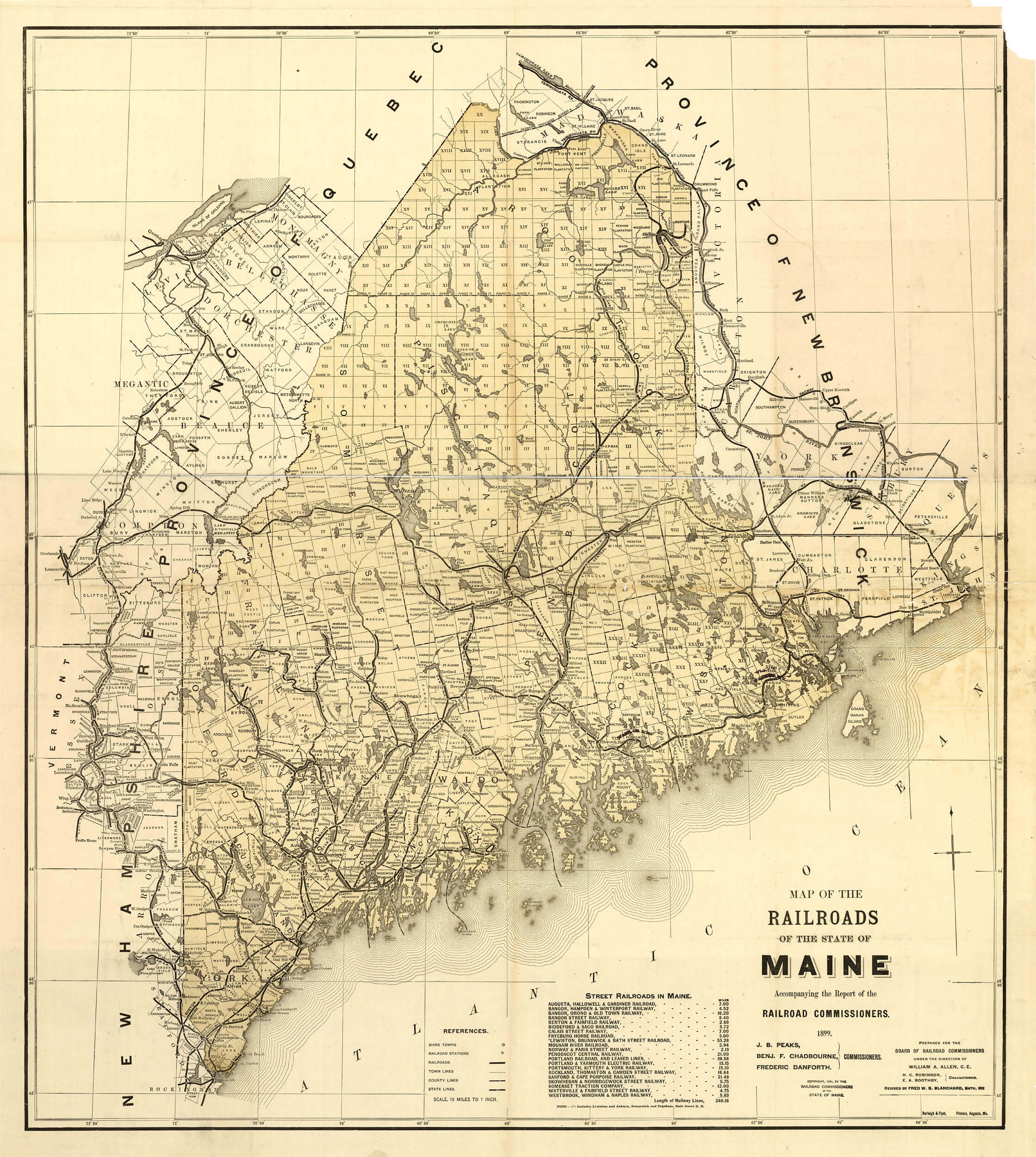 Historic Railroad Map Of Maine 1899