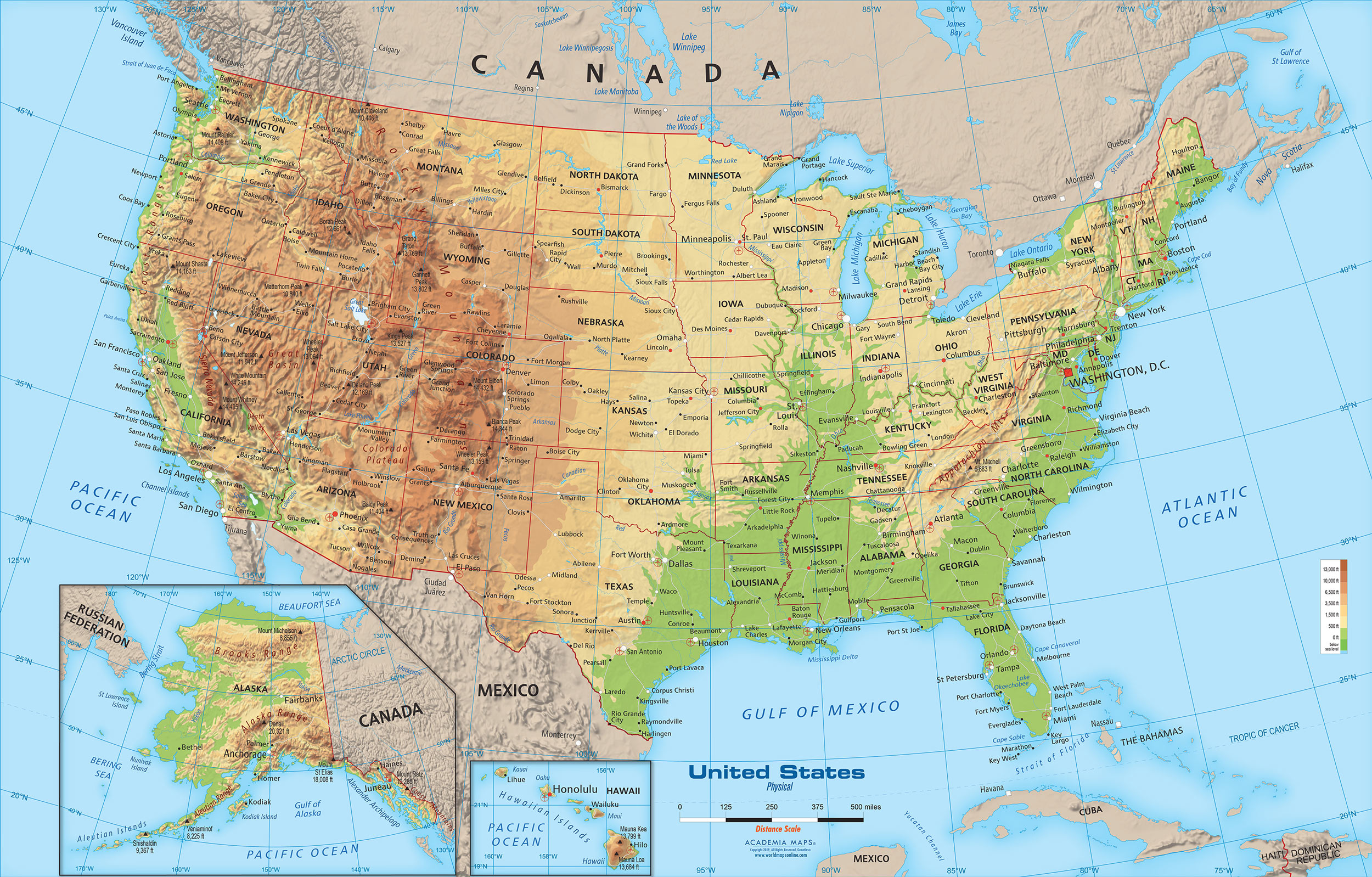 Picture of: United States Physical Map Wall Mural From Academia
