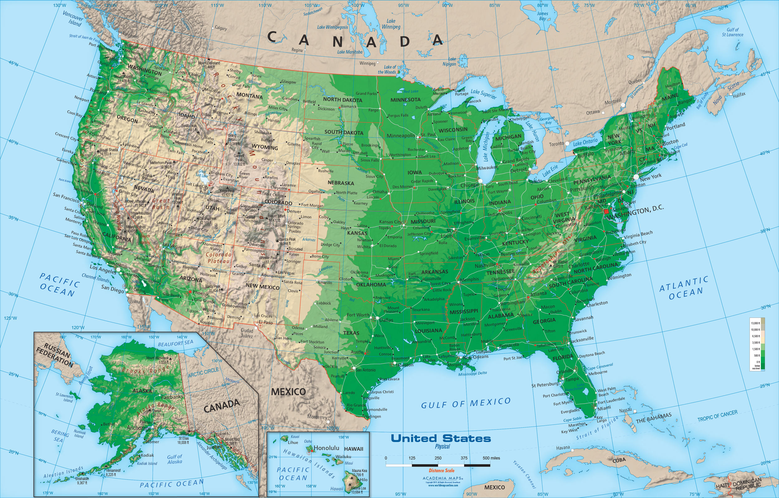 Topographical Map Of The Us United States Physical Map Wall Mural from Academia