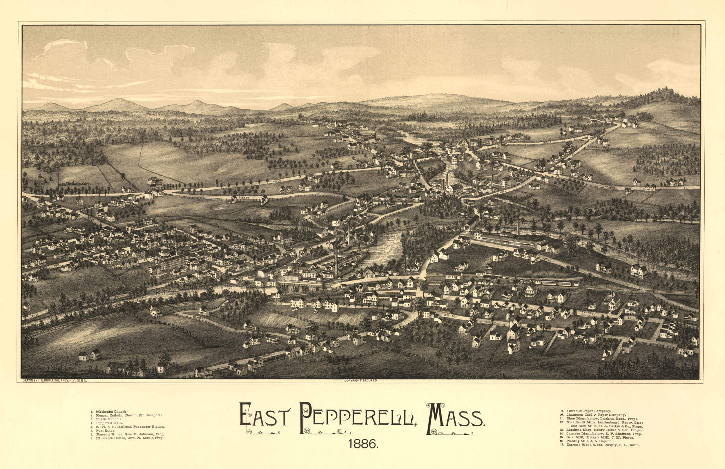 Panoramic map of East Pepperell Massachusettes c1886 repro 24x16