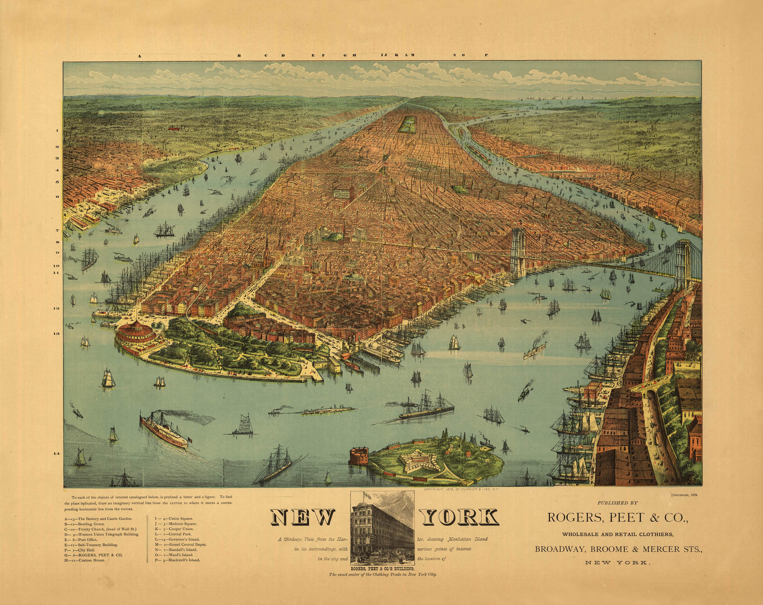 1879 New York City 24x42 New York Vintage Old Panoramic NY City Map