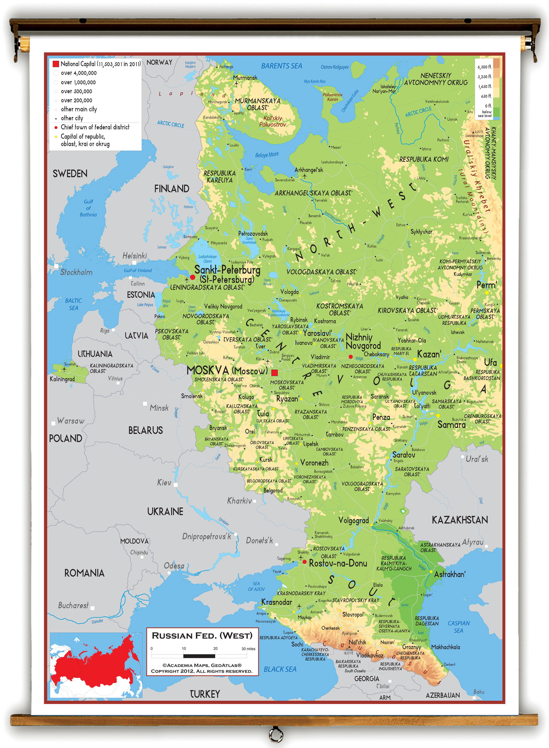 Image of: Western Russia Physical Educational Wall Map From Academia Maps