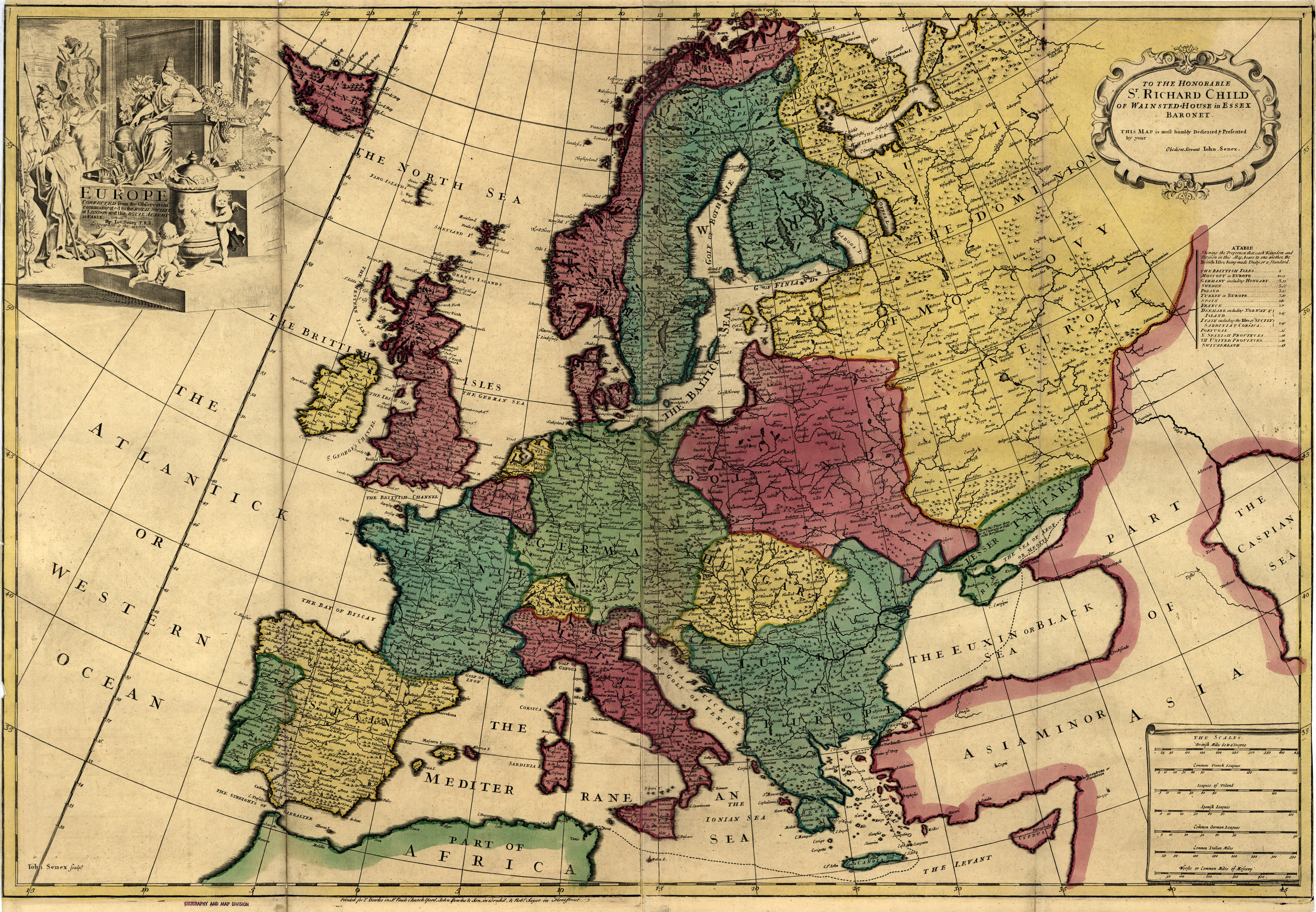 map of europe in the 1700s Historical Map of Europe   1700's