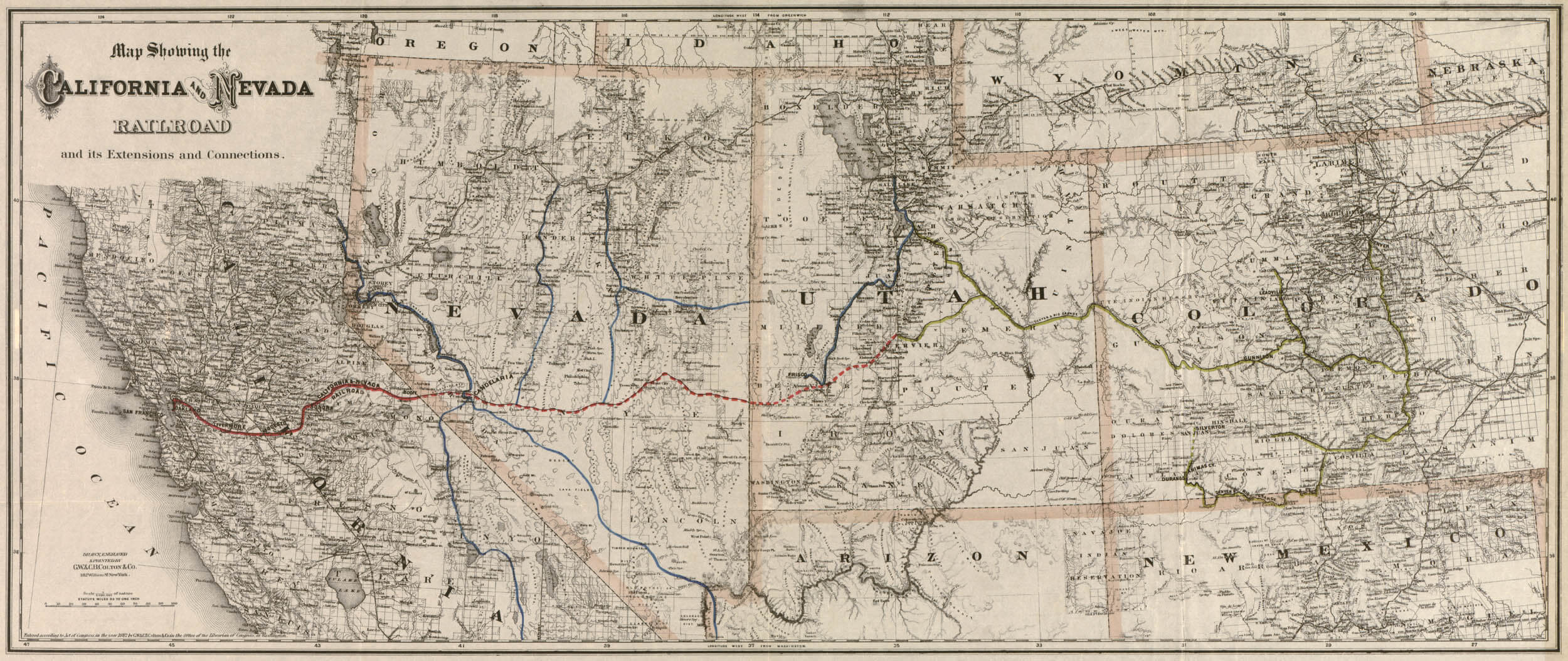 Picture of: Historic Railroad Map Of The Southwest United States 1882