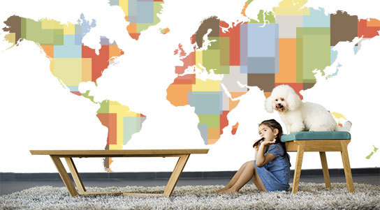 World Map Theme Wall Murals