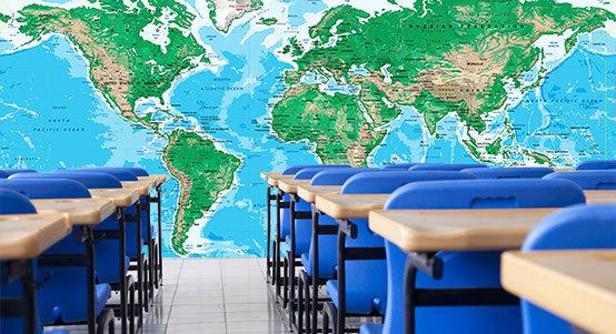 Classroom Map Wall Murals