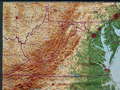 Raised Relief Maps of Virginia