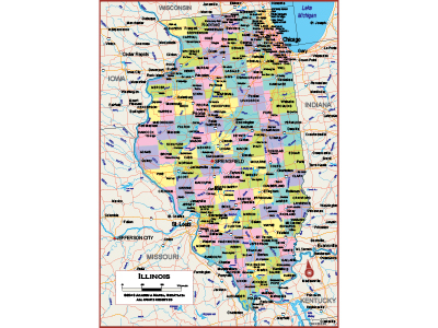 Illinois Wall Map Posters