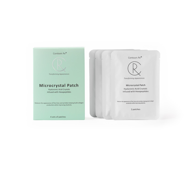 Microcrystal patch - hyaluronic acid crystals infused with hexapeptides