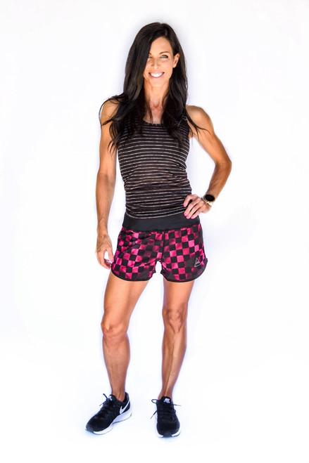 Pink Checkered Women's Flash Running Shorts
