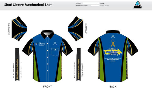 SBF Green Adult Mechanic Shirt - UNISEX Sizing