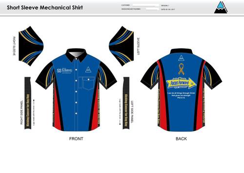 SBF Red Adult Mechanic Shirt - UNISEX Sizing