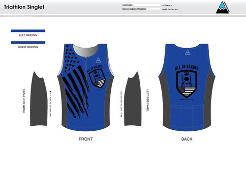 All In Racing Blue Men's Tri Singlet